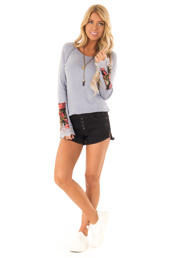 Pale Lavender Long Sleeve Top with Lace Cuff Detail front full body