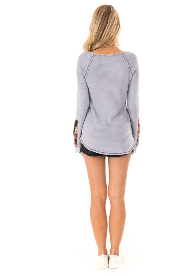 Pale Lavender Long Sleeve Top with Lace Cuff Detail back full body