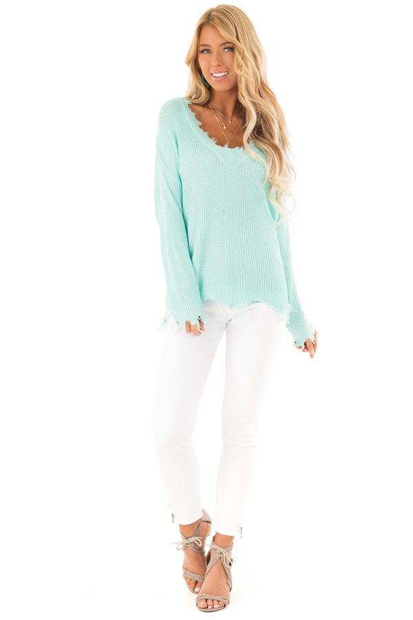 Aqua V Neck Long Sleeve Sweater with Frayed Details front full body