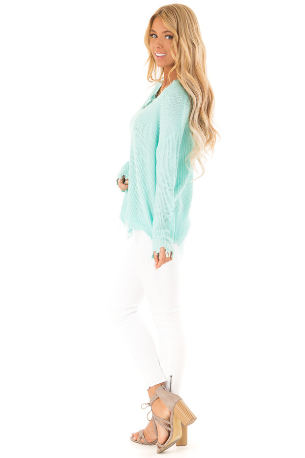 Aqua V Neck Long Sleeve Sweater with Frayed Details side full body