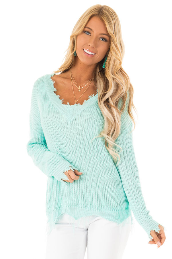 Aqua V Neck Long Sleeve Sweater with Frayed Details front close up