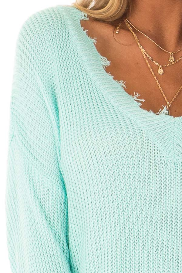 Aqua V Neck Long Sleeve Sweater with Frayed Details detail