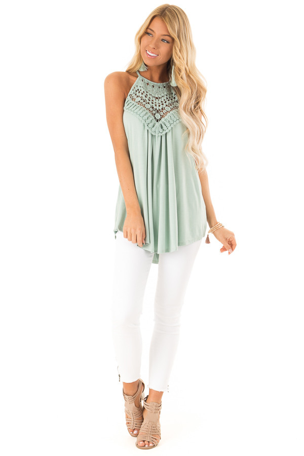 Faded Seafoam Tank Top with Sheer Lace Chest front full body