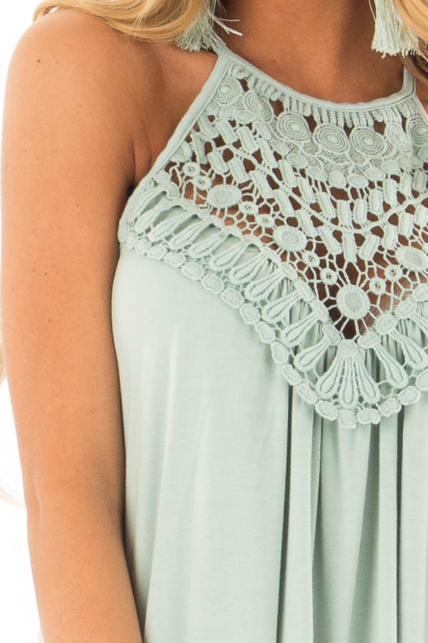 Faded Seafoam Tank Top with Sheer Lace Chest detail