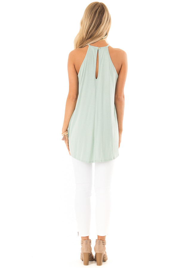 Faded Seafoam Tank Top with Sheer Lace Chest back full body