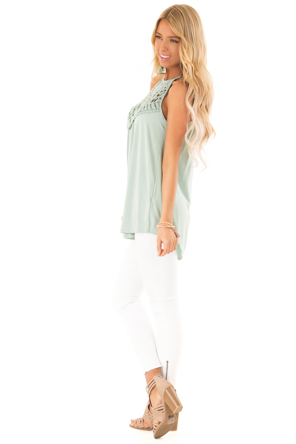 Faded Seafoam Tank Top with Sheer Lace Chest side full body