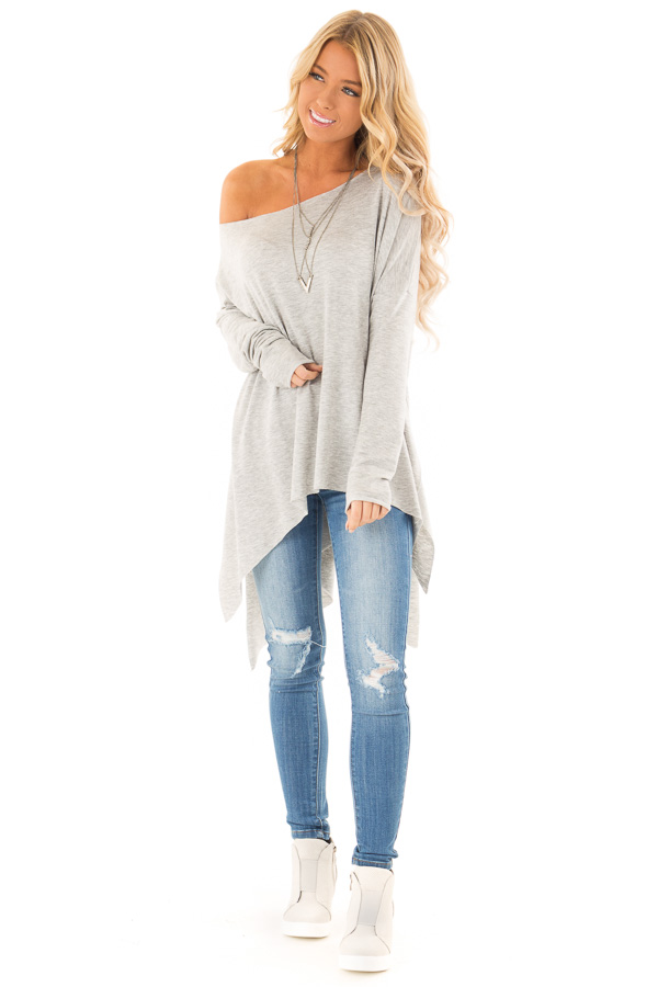 26a82ed3a35 Heather Grey Off the Shoulder Oversized Long Sleeve Top front full body