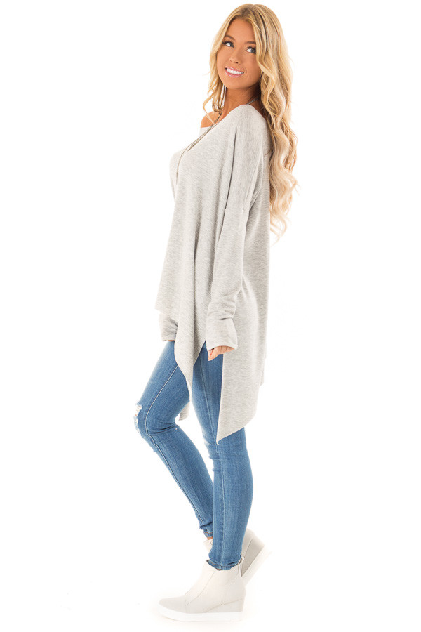 Heather Grey Off the Shoulder Oversized Long Sleeve Top side full body