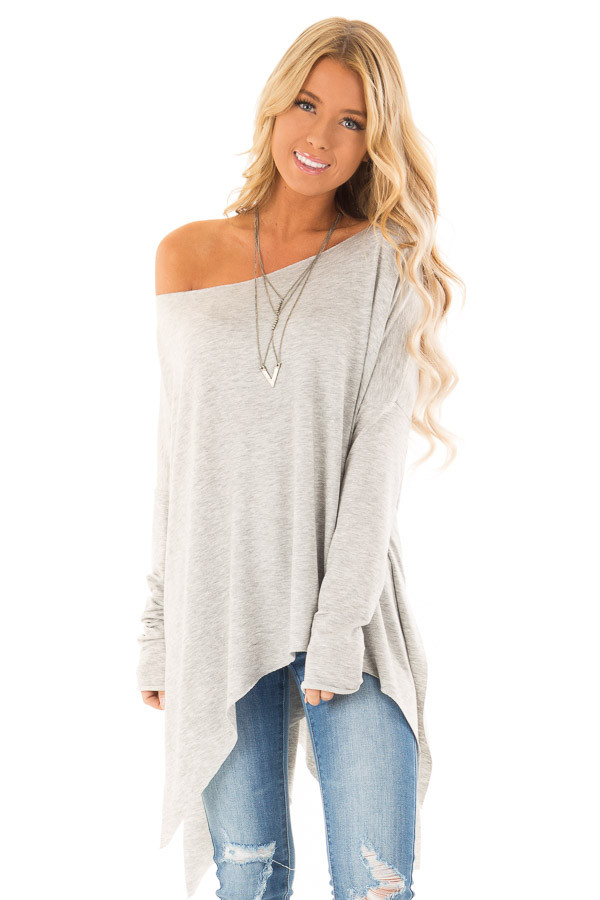 Heather Grey Off the Shoulder Oversized Long Sleeve Top front close up