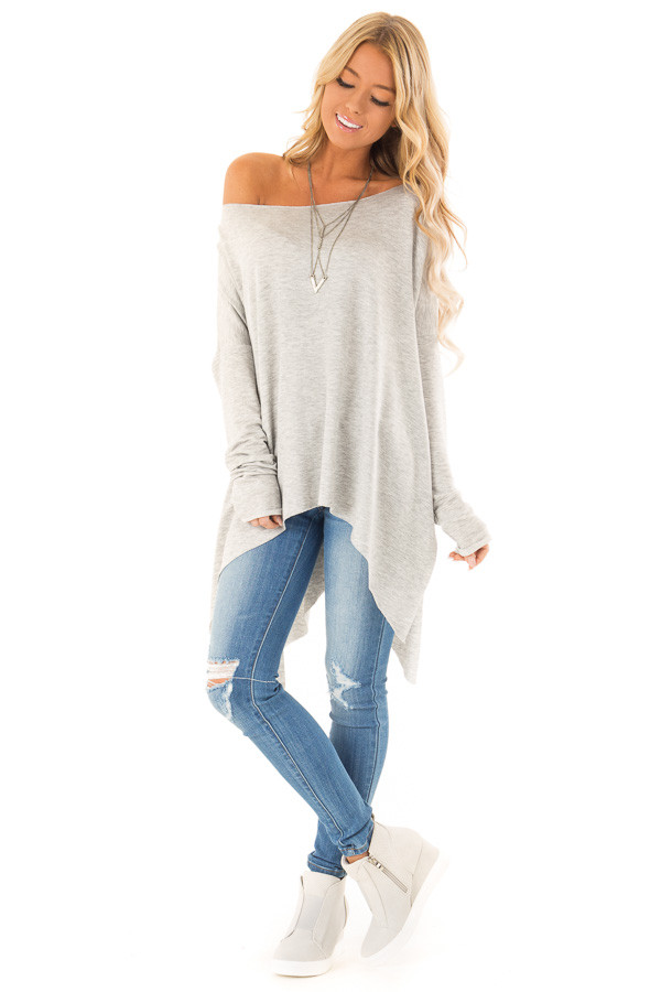 Heather Grey Off the Shoulder Oversized Long Sleeve Top front full body