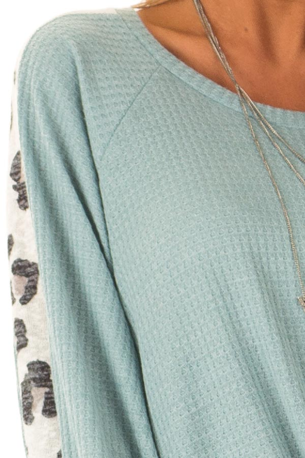 Dusty Teal Long Waffle Knit Top with Leopard Print Detail detail