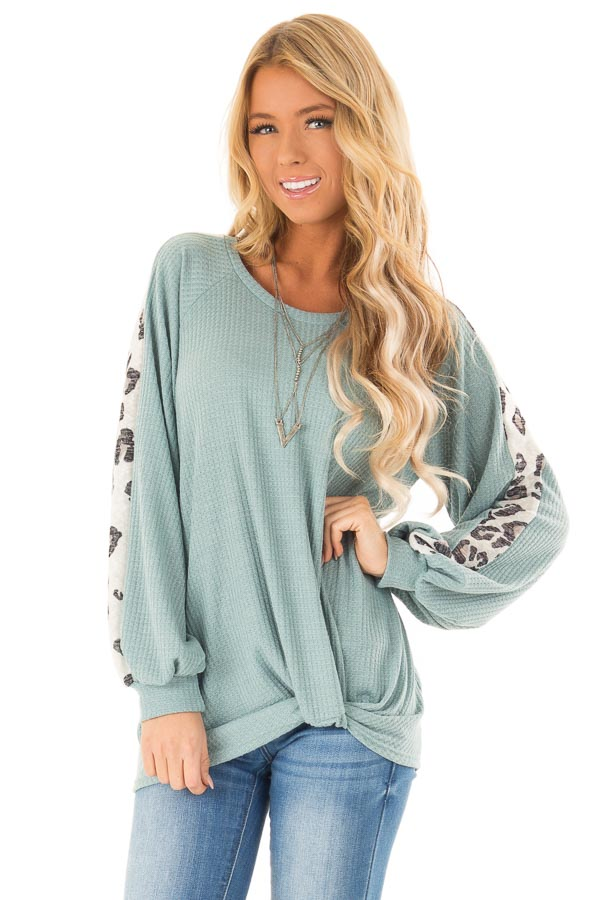 Dusty Teal Long Waffle Knit Top with Leopard Print Detail front close up