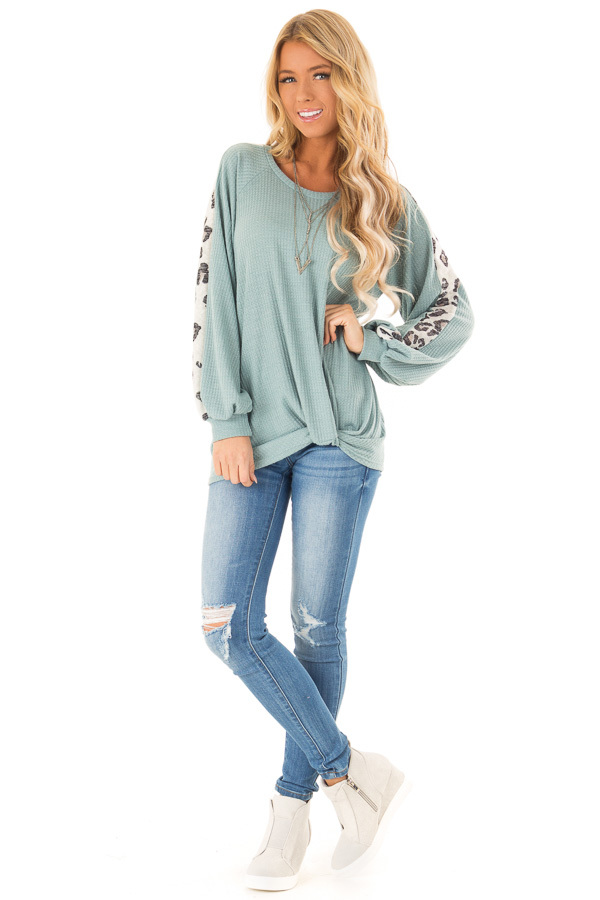 Dusty Teal Long Waffle Knit Top with Leopard Print Detail front full body