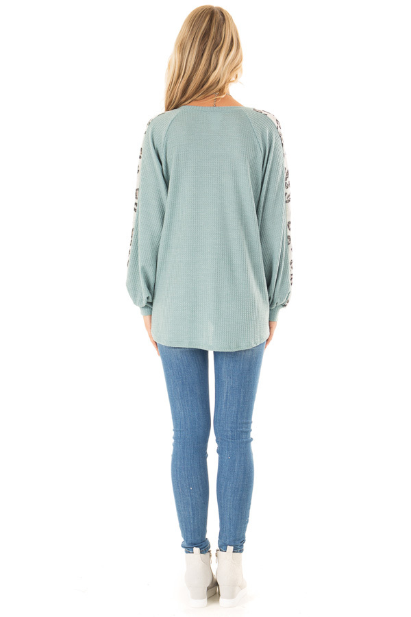 Dusty Teal Long Waffle Knit Top with Leopard Print Detail back full body