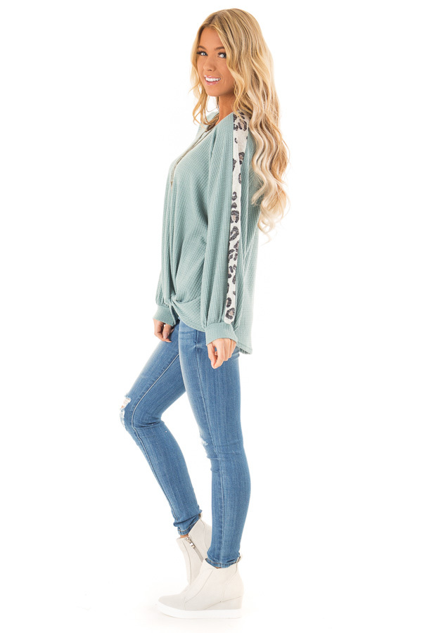 Dusty Teal Long Waffle Knit Top with Leopard Print Detail side full body
