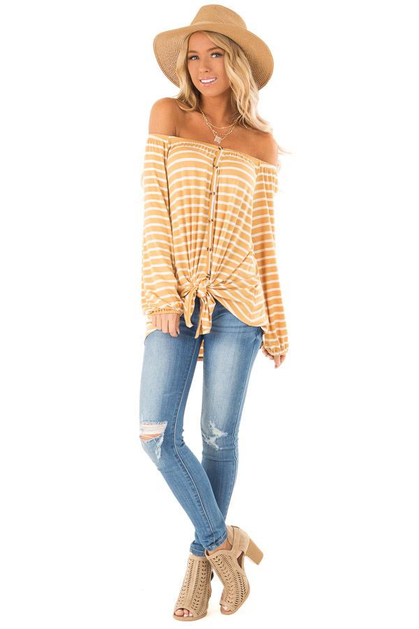 Mustard and Ivory Off the Shoulder Striped Top with Buttons front full body