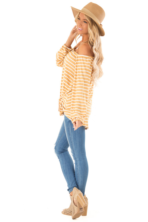 Mustard and Ivory Off the Shoulder Striped Top with Buttons side full body