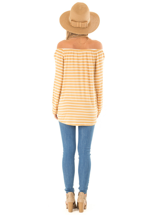 Mustard and Ivory Off the Shoulder Striped Top with Buttons back full body