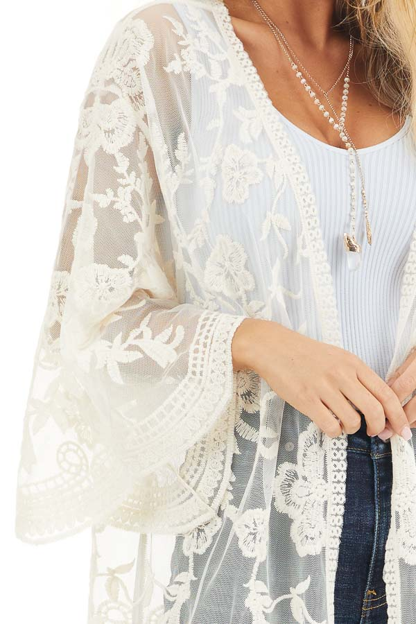 Cream Sheer Kimono with Lace and Crochet Detail detail
