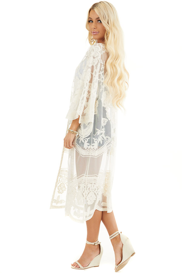 Cream Sheer Kimono with Lace and Crochet Detail side full body