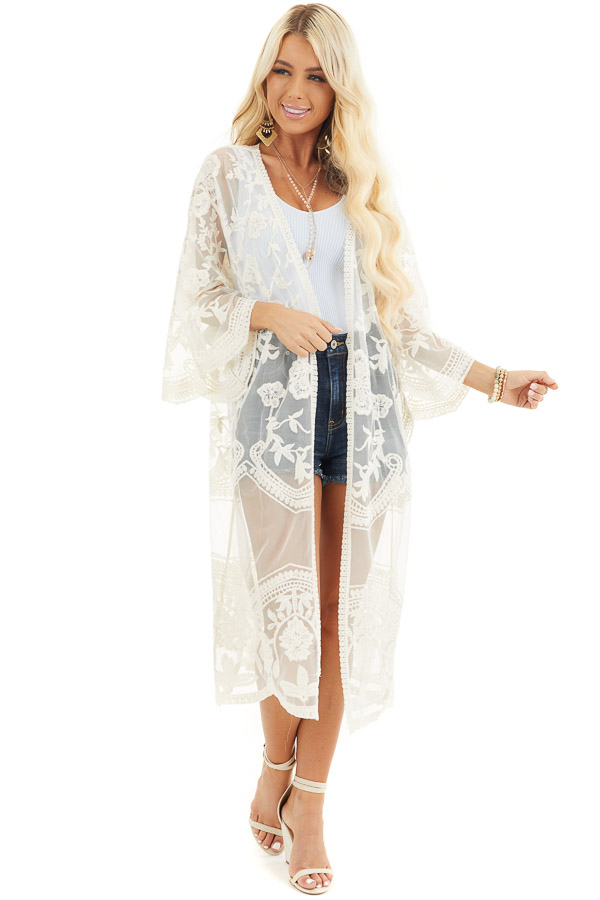Cream Sheer Kimono with Lace and Crochet Detail front full body