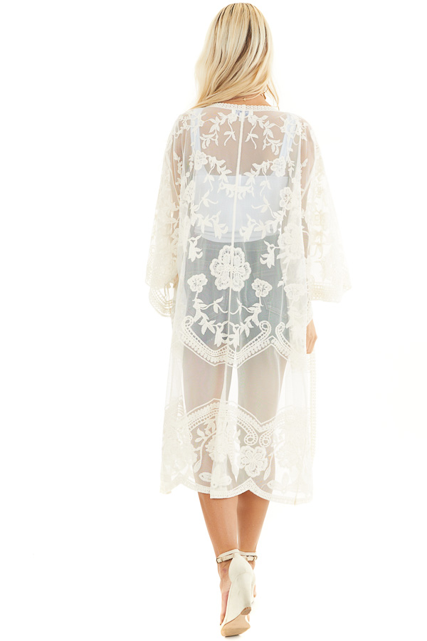Cream Sheer Kimono with Lace and Crochet Detail back full body