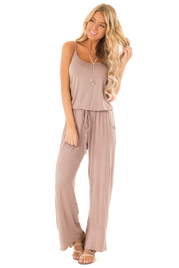 Light Mocha Sleeveless Jumpsuit with Waist Tie and Pockets front full body