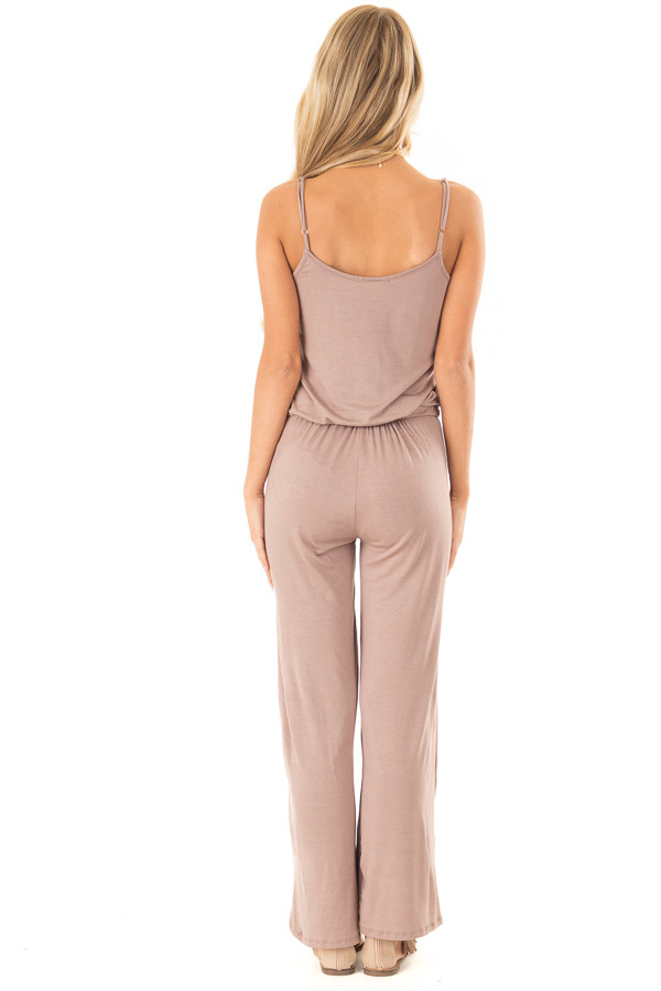 Light Mocha Sleeveless Jumpsuit with Waist Tie and Pockets back full body