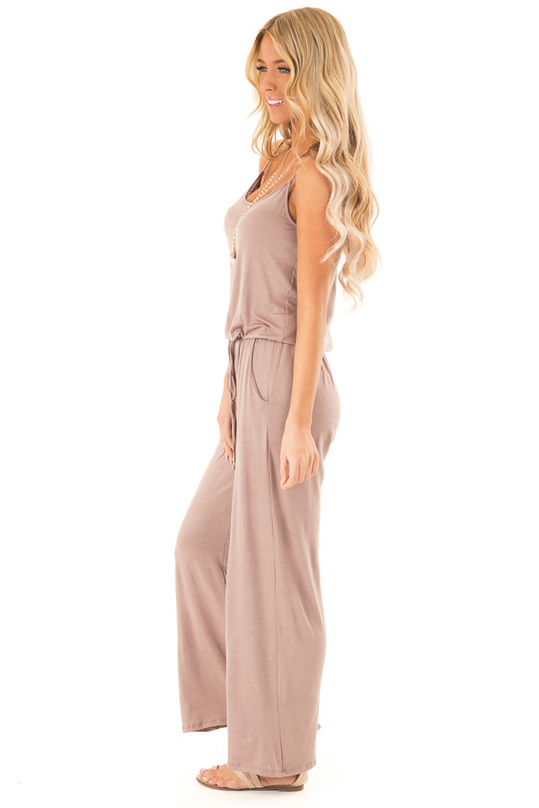 Light Mocha Sleeveless Jumpsuit with Waist Tie and Pockets side full body