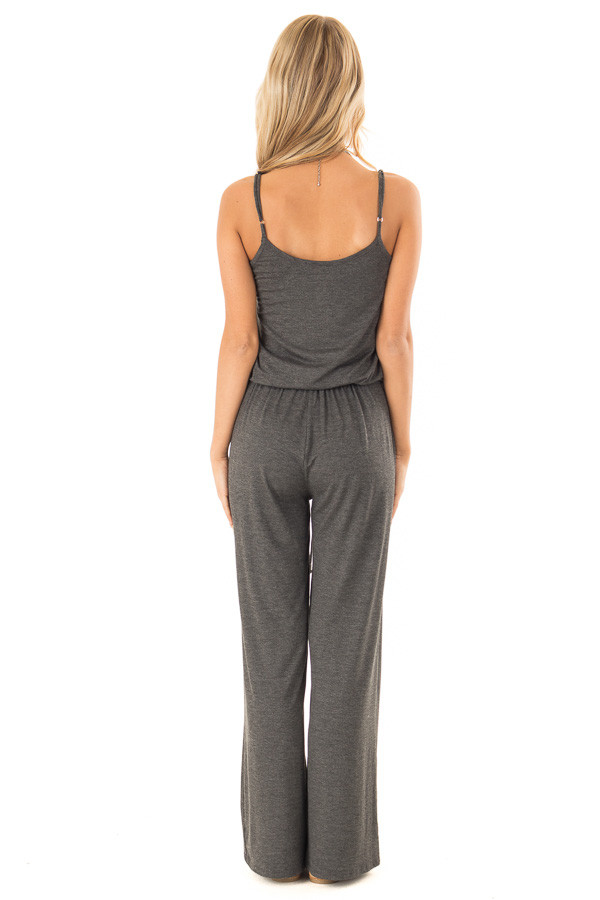 Charcoal Sleeveless Jumpsuit with Waist Tie and Pockets back full body