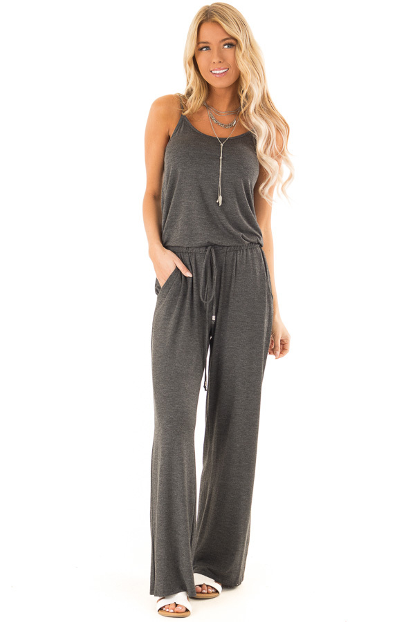 Charcoal Sleeveless Jumpsuit with Waist Tie and Pockets front full body