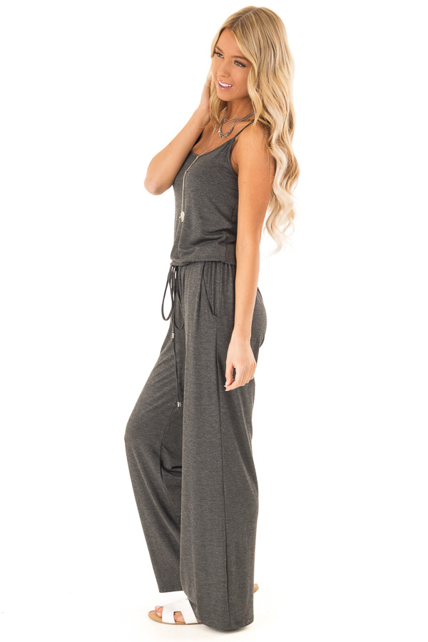 Charcoal Sleeveless Jumpsuit with Waist Tie and Pockets side full body