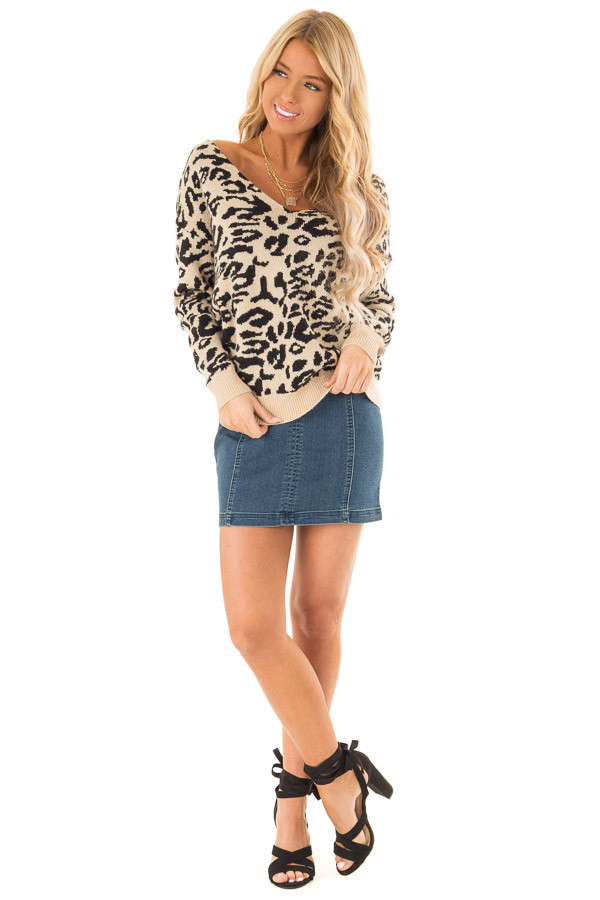 Beige and Black Leopard Print Sweater with Twisted Back front full body