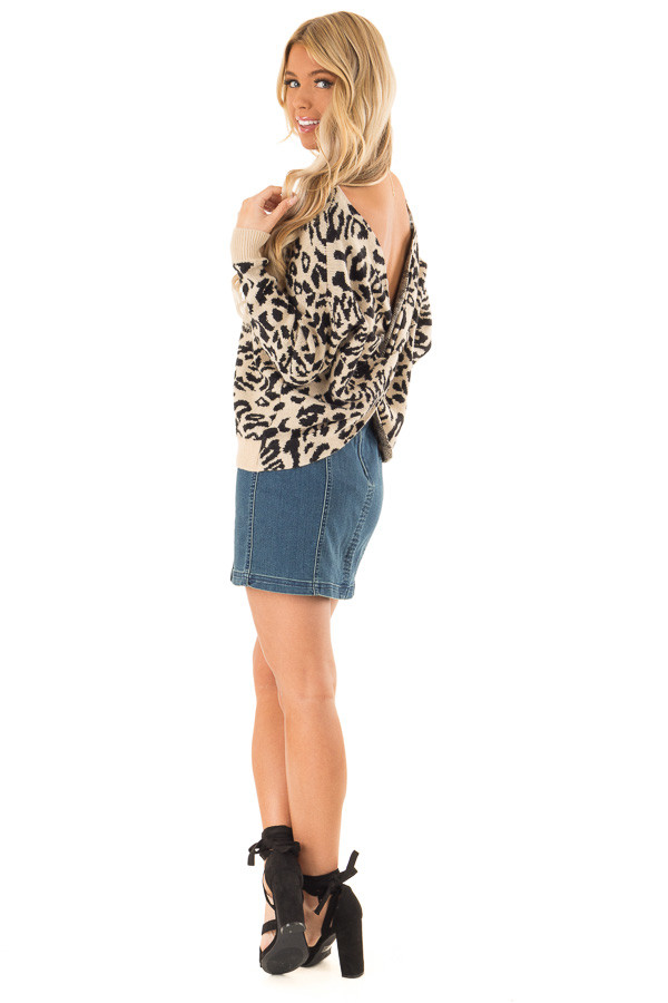 Beige and Black Leopard Print Sweater with Twisted Back back side full body