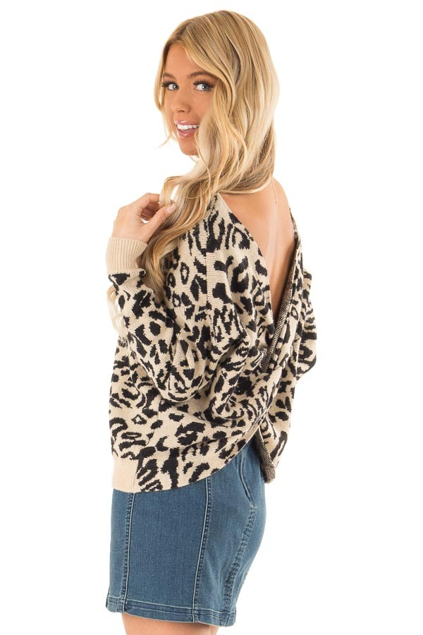 Beige and Black Leopard Print Sweater with Twisted Back back side close up