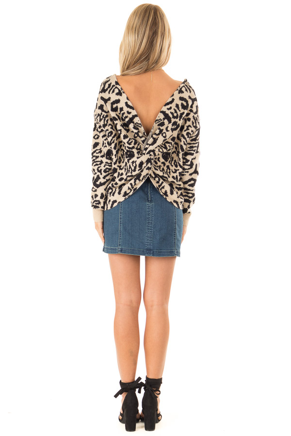 Beige and Black Leopard Print Sweater with Twisted Back back full body