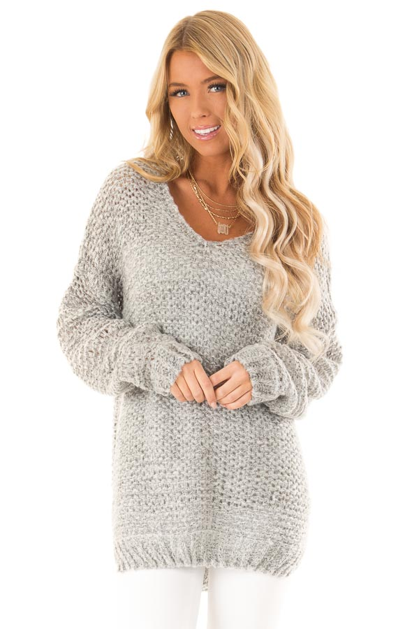 549edf6b8191e Heather Grey Two Tone Long Sleeve V Neck Loose Knit Sweater front close up