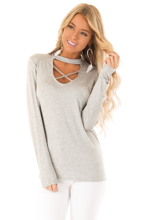 Heather Grey Long Sleeve Top with Criss Cross Chest Cutout front close up
