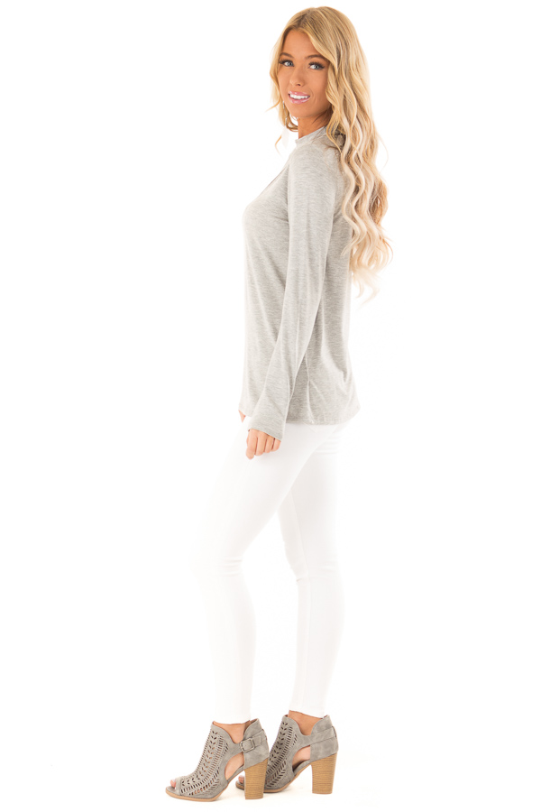 Heather Grey Long Sleeve Top with Criss Cross Chest Cutout side full body