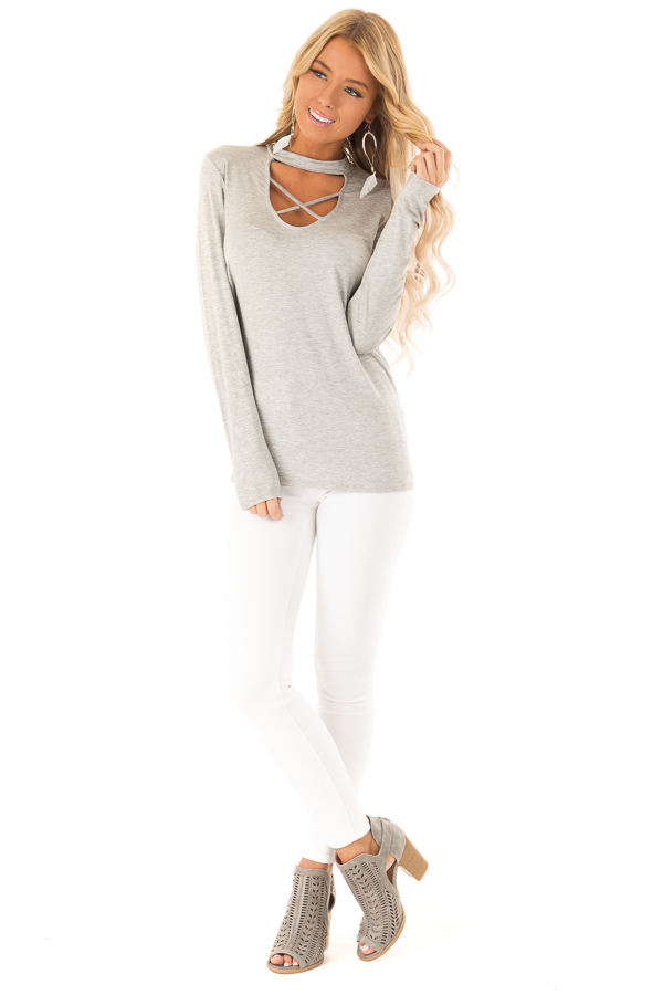 Heather Grey Long Sleeve Top with Criss Cross Chest Cutout front full body