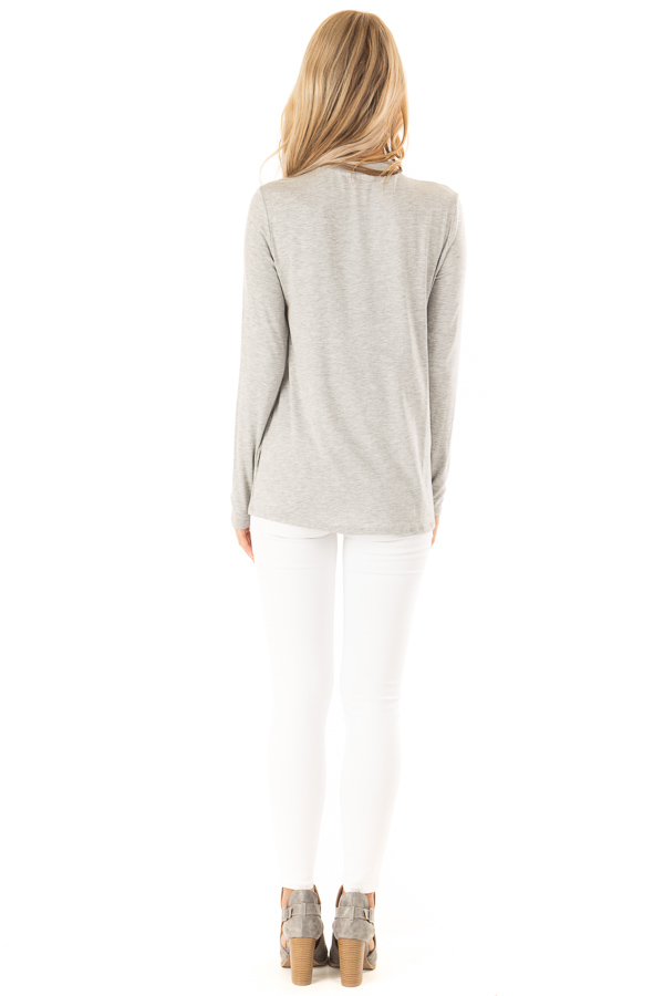 Heather Grey Long Sleeve Top with Criss Cross Chest Cutout back full body