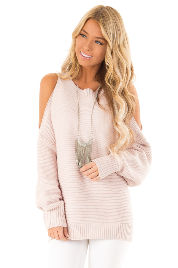 Light Blush Cold Shoulder Ribbed Knit Balloon Sleeve Sweater front close up