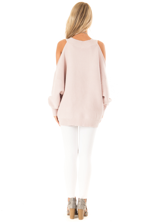 Light Blush Cold Shoulder Ribbed Knit Balloon Sleeve Sweater back full body