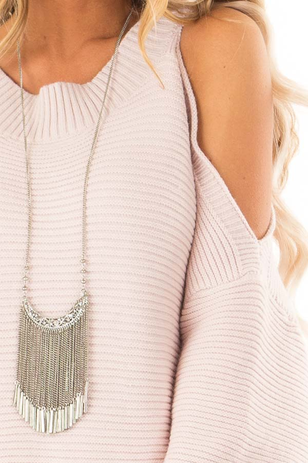 Light Blush Cold Shoulder Ribbed Knit Balloon Sleeve Sweater detail