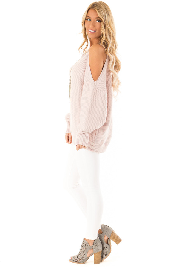 Light Blush Cold Shoulder Ribbed Knit Balloon Sleeve Sweater side full body