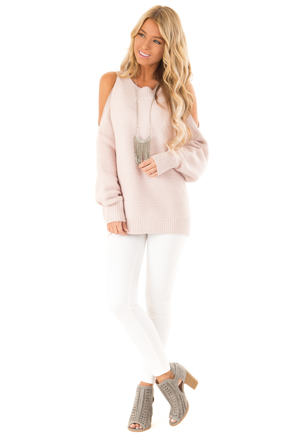 Light Blush Cold Shoulder Ribbed Knit Balloon Sleeve Sweater front full body
