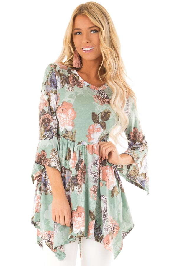ab0ef5dd2897e Mint Green Floral Print Top with 3 4 Flare Sleeves - Lime Lush Boutique
