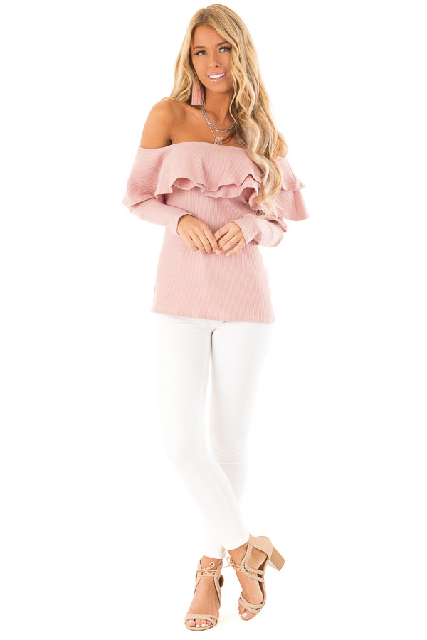 Dusty Blush Off Shoulder Ribbed Knit Top with Ruffle Detail front full body