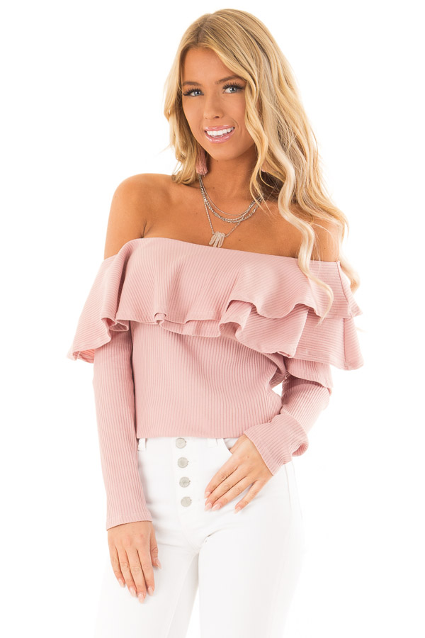 Dusty Blush Off Shoulder Ribbed Knit Top with Ruffle Detail front close up