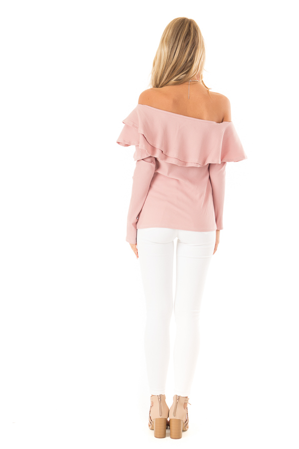 Dusty Blush Off Shoulder Ribbed Knit Top with Ruffle Detail back full body